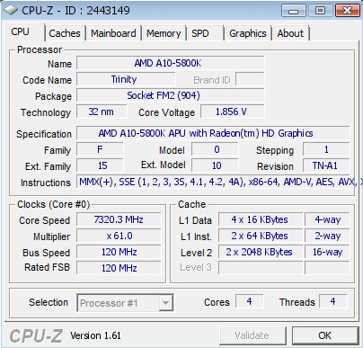 Nowy rekord na A10-5800K? - 7320.3MHz