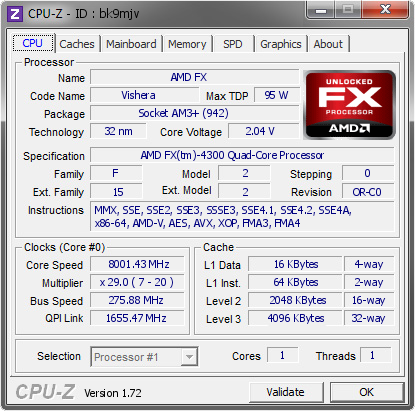 Procesor FX-4300 podkręcony do rekordowych 8 GHz